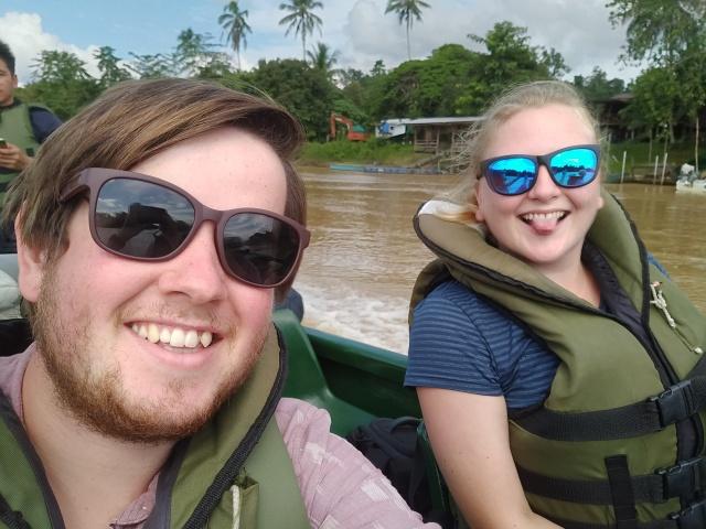 Ste & I on our way to the lodge. Kinabatangan River, Sabah, Borneo.