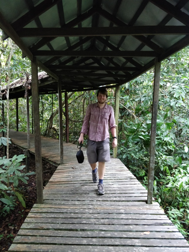 Ste walking along the lodge's boardwalk. Sukau Rainforest Lodge.