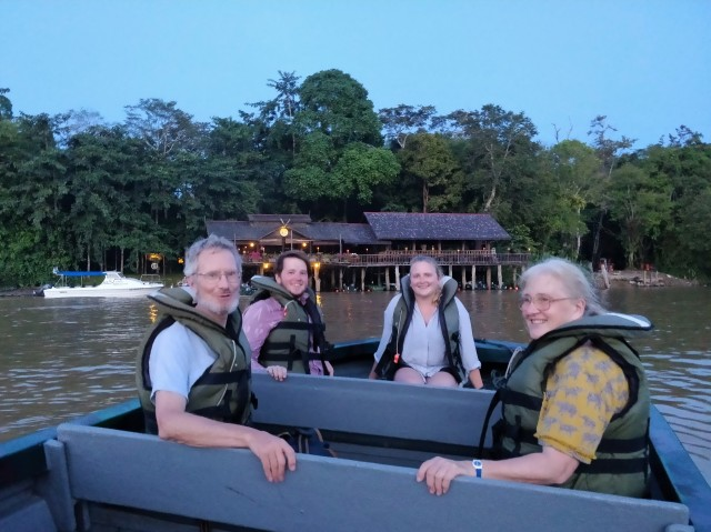 Dad, Ste, me & Mum outside Sukau Rainforest Lodge. Kinabatangan River, Sabah, Borneo.