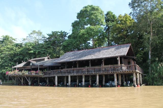 Sukau Rainforest Lodge from the river. Kinabatangan River, Sabah, Borneo.